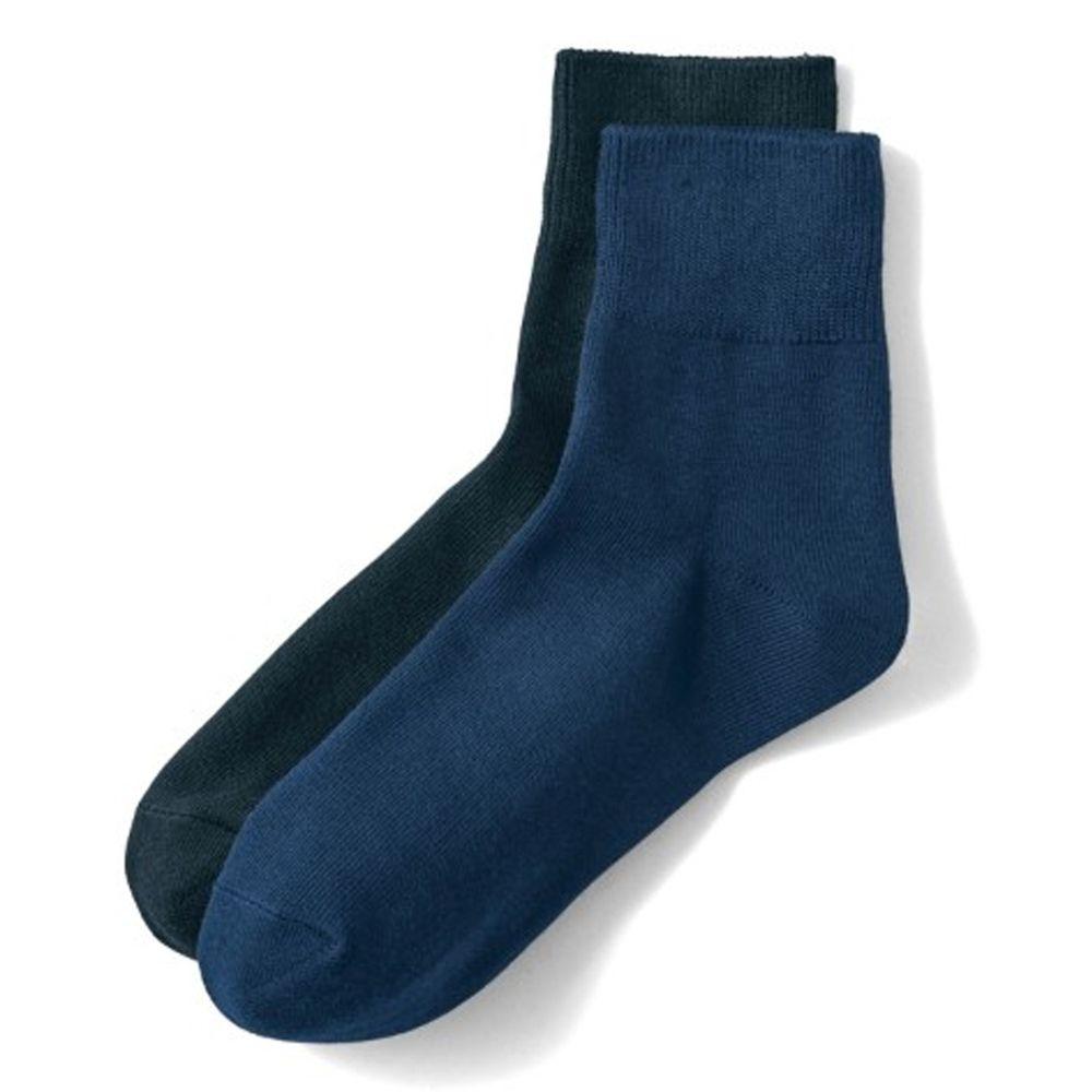 日本千趣會 - 棉混 (媽媽)短筒發熱襪兩件組-深藍+黑 (23-25cm)