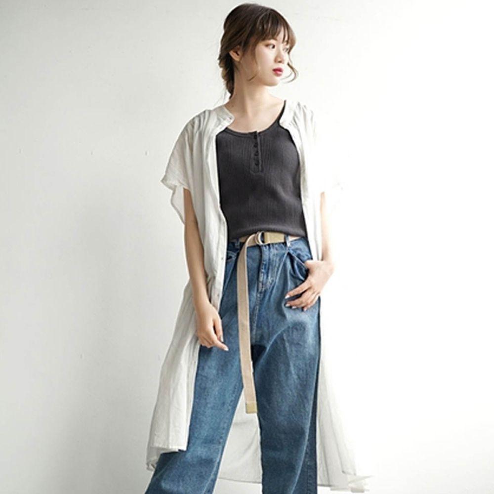 日本 zootie - 純棉顯瘦剪裁輕薄傘狀短袖洋裝/外套-優雅白 (F)