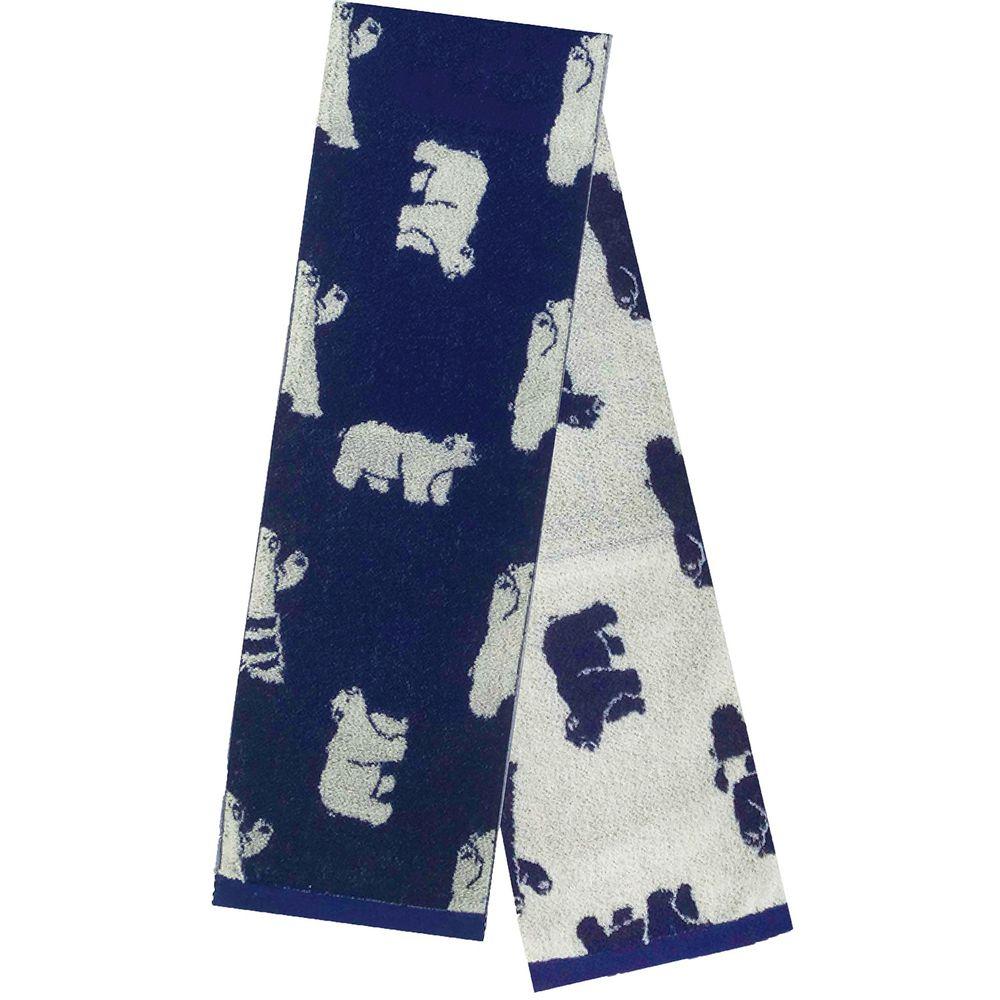 日本弘雅堂 - 日本製 接觸涼感速乾毛巾-北極熊游泳圈-深藍 (90x16cm)