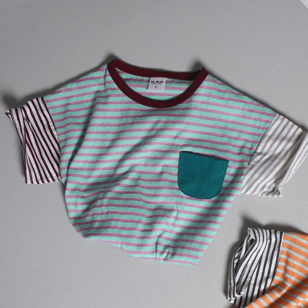 韓國 First Blue - 條紋口袋T-薄荷綠