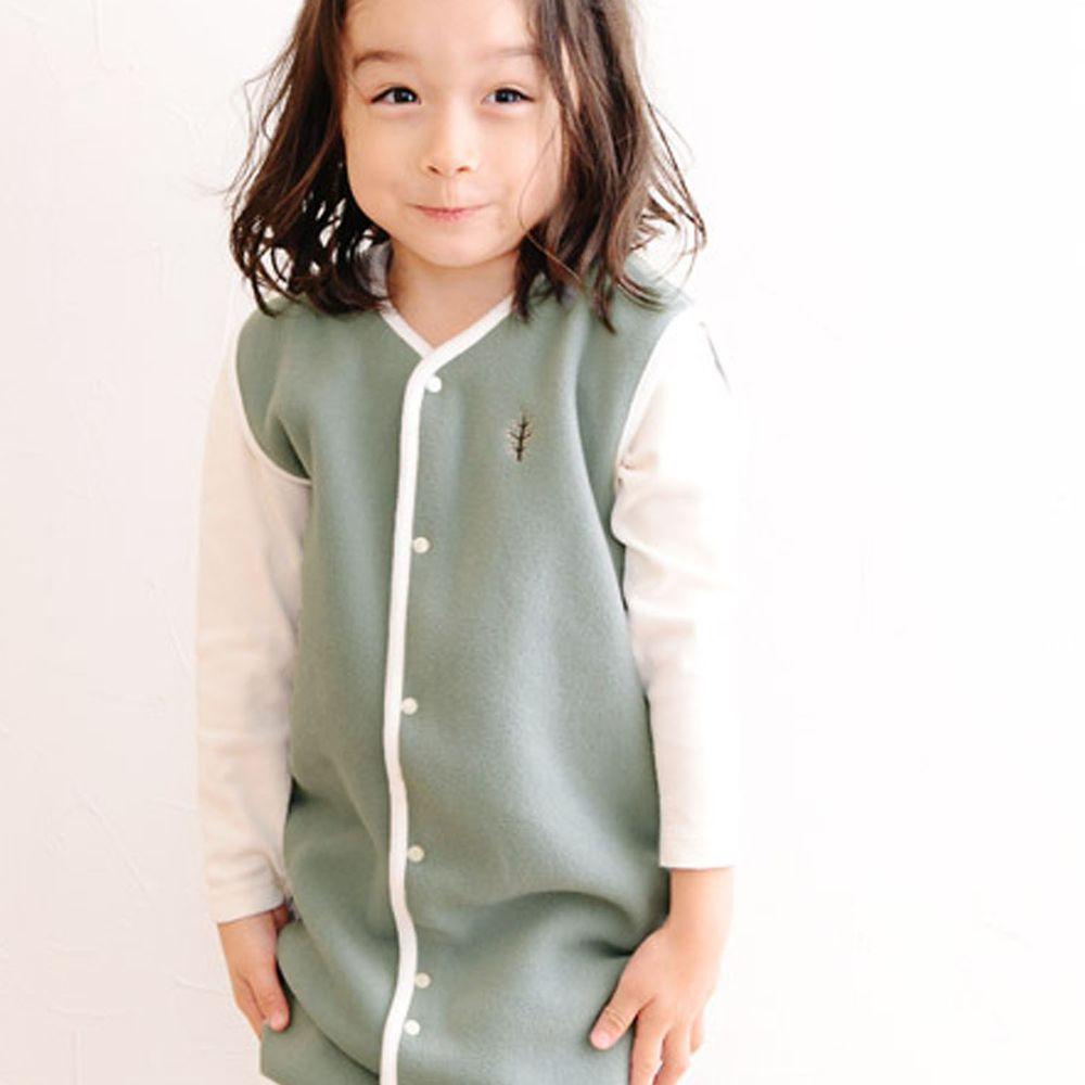 日本 kukka ja puu - 日本製刷毛防踢背心-小樹刺繡-星塵綠X白