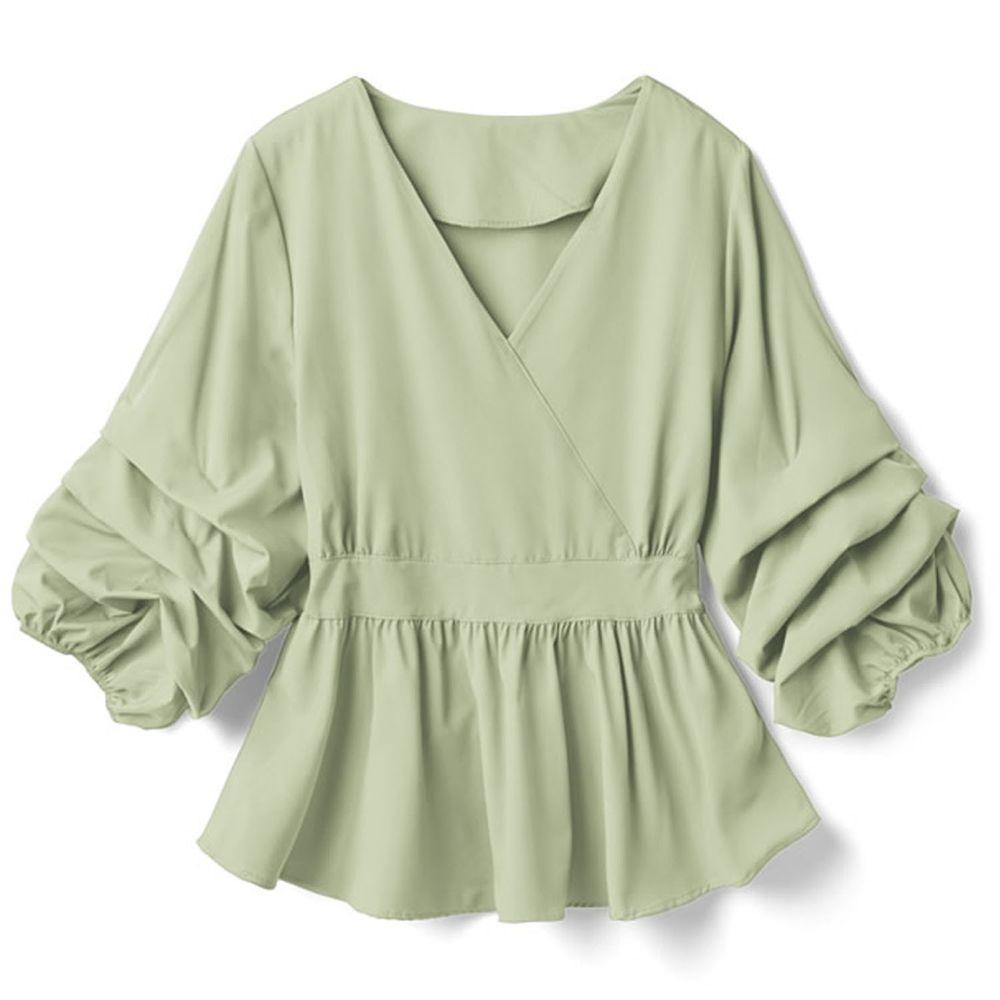 日本 GRL - V領層次感袖口七分袖上衣-綠