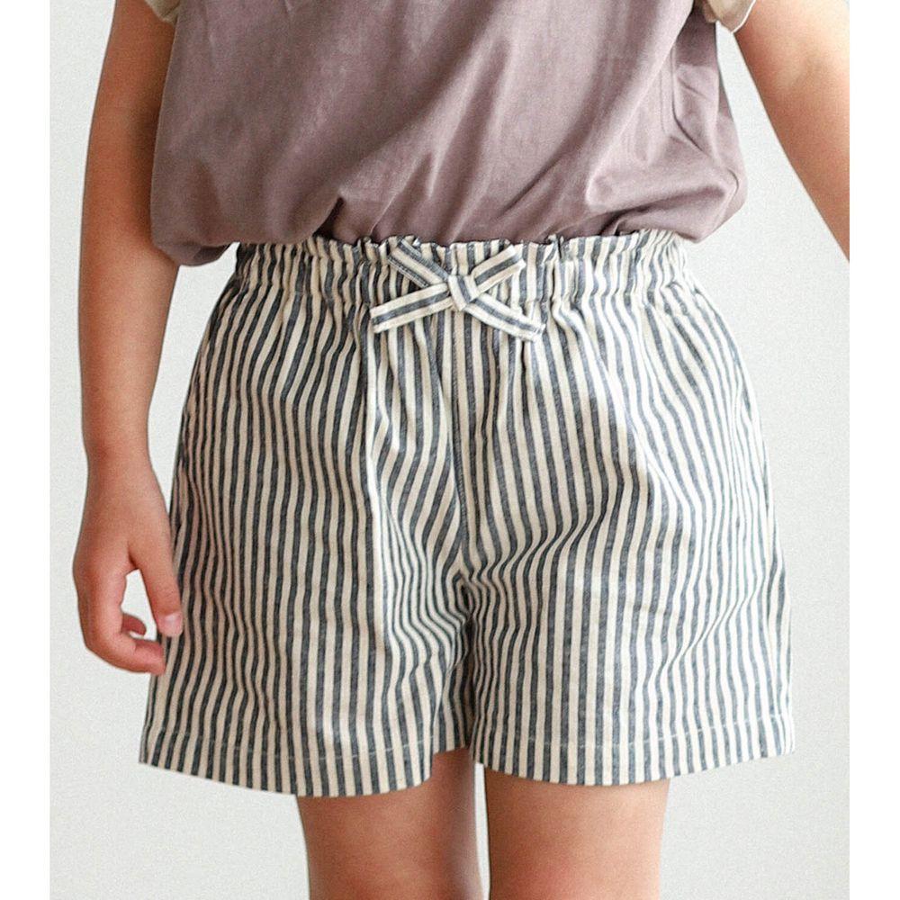 日本 PAIRMANON - 純棉小蝴蝶結短褲-直條紋-深藍