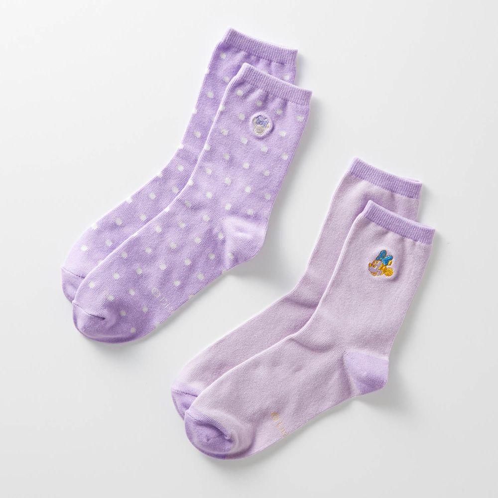 日本千趣會 - 迪士尼中筒襪兩件組-米妮-薰衣草 (23-25)