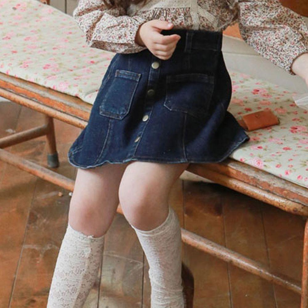 韓國 Puellaflo - 裝飾銅鬆緊帶牛仔短裙-深藍
