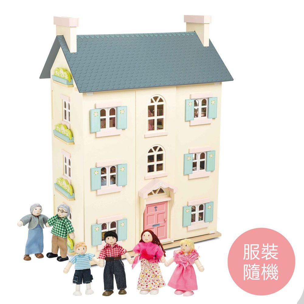 英國 Le Toy Van - 蘇格蘭櫻花官邸娃娃屋 (精品裝潢不含家具)-送娃娃家族-拔拔, 麻麻與兩個小孩(服裝搭配隨機)+娃娃家族-阿公與阿嬤