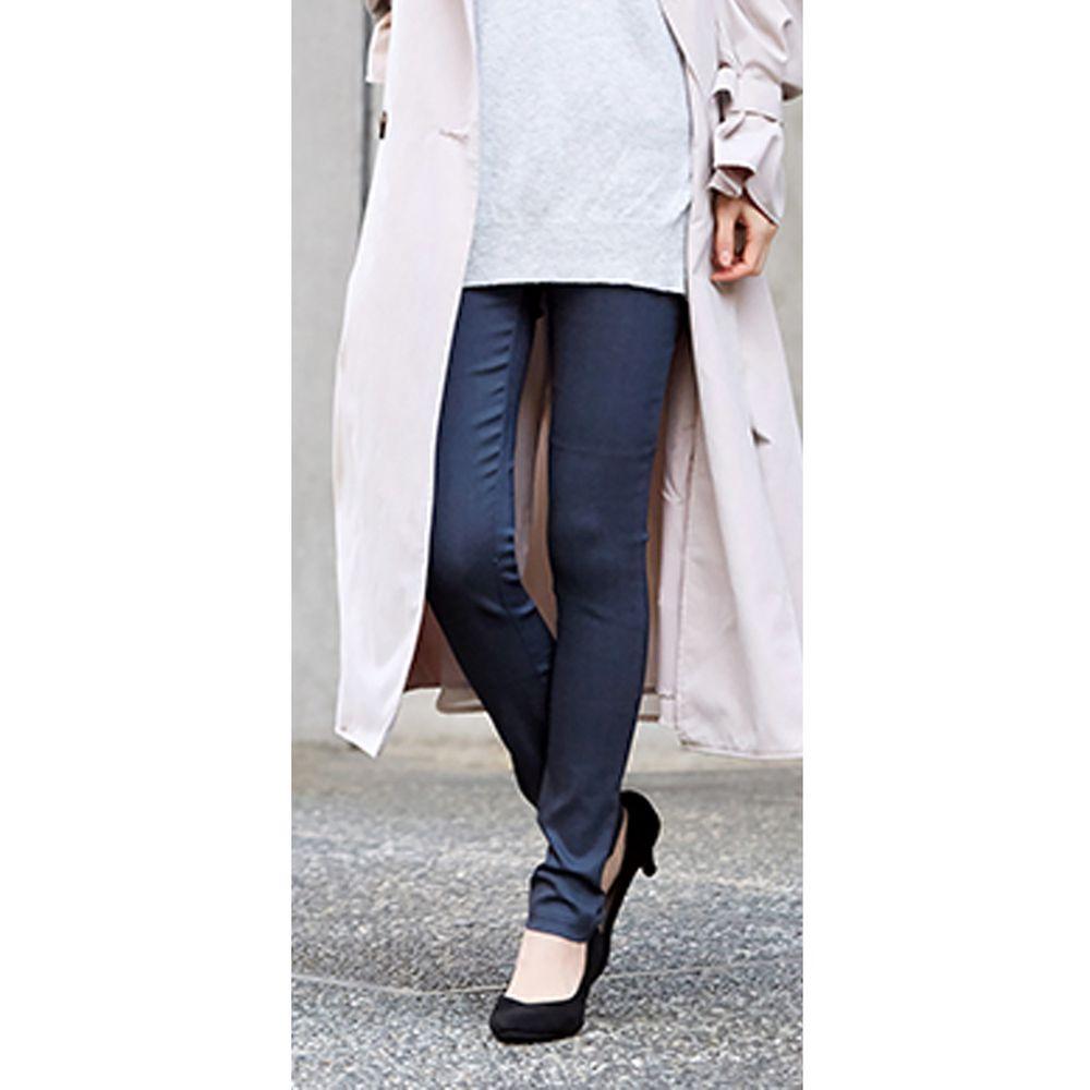 日本女裝代購 - 極彈性高腰修身內搭美腿褲-灰藍