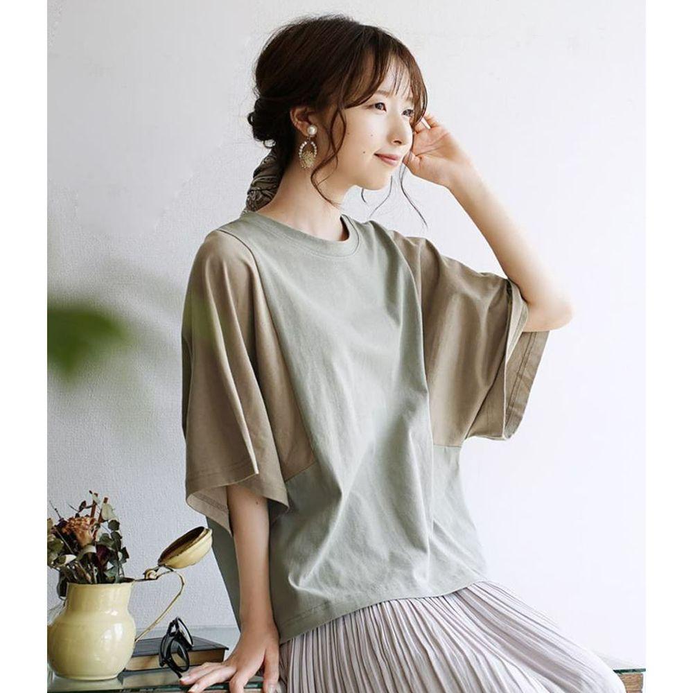 日本 zootie - 抗透汗 撞色顯瘦設計寬版五分袖上衣-墨綠X杏