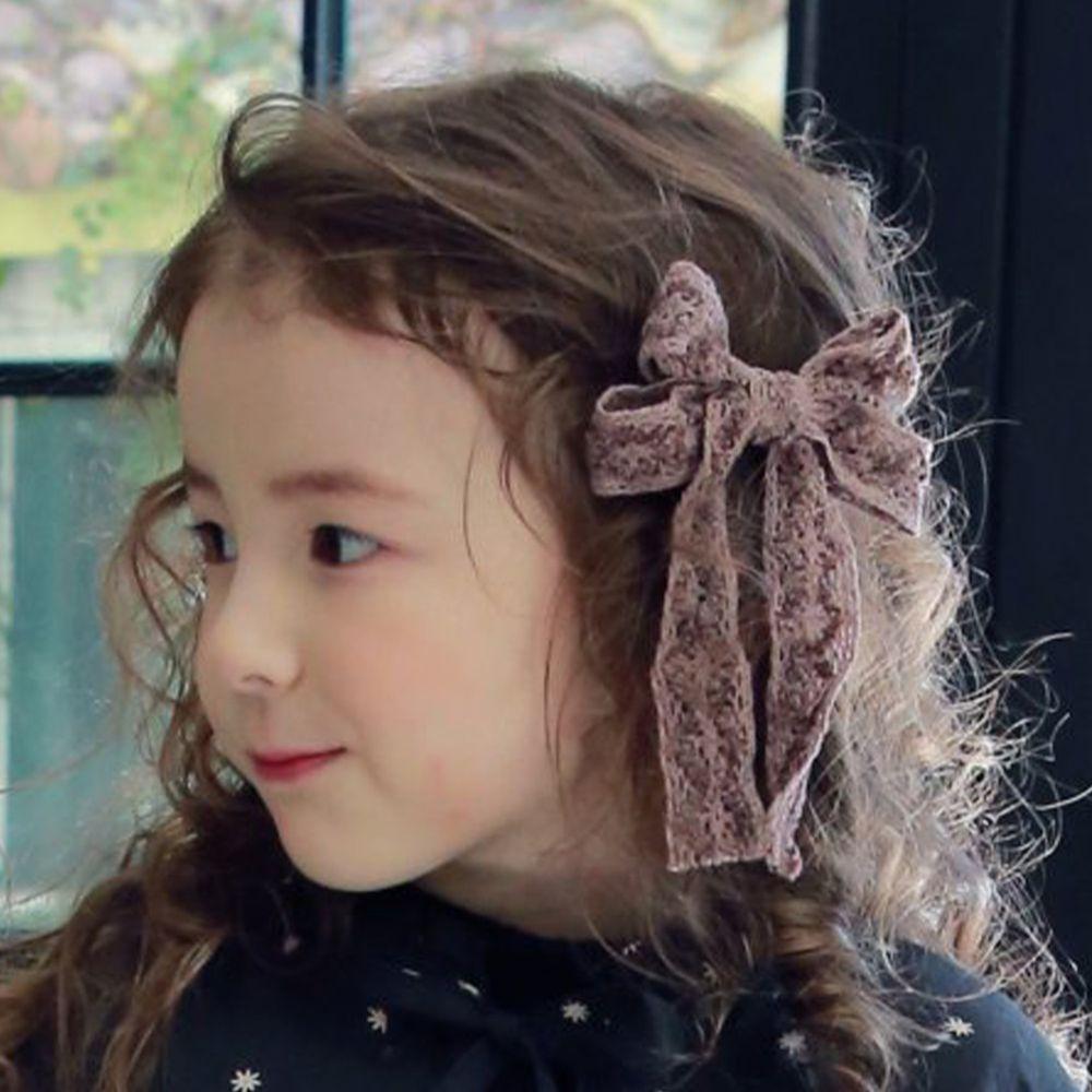 韓國 PuellaFLO - 雕花蕾絲蝴蝶結髮飾/髮夾-深紫