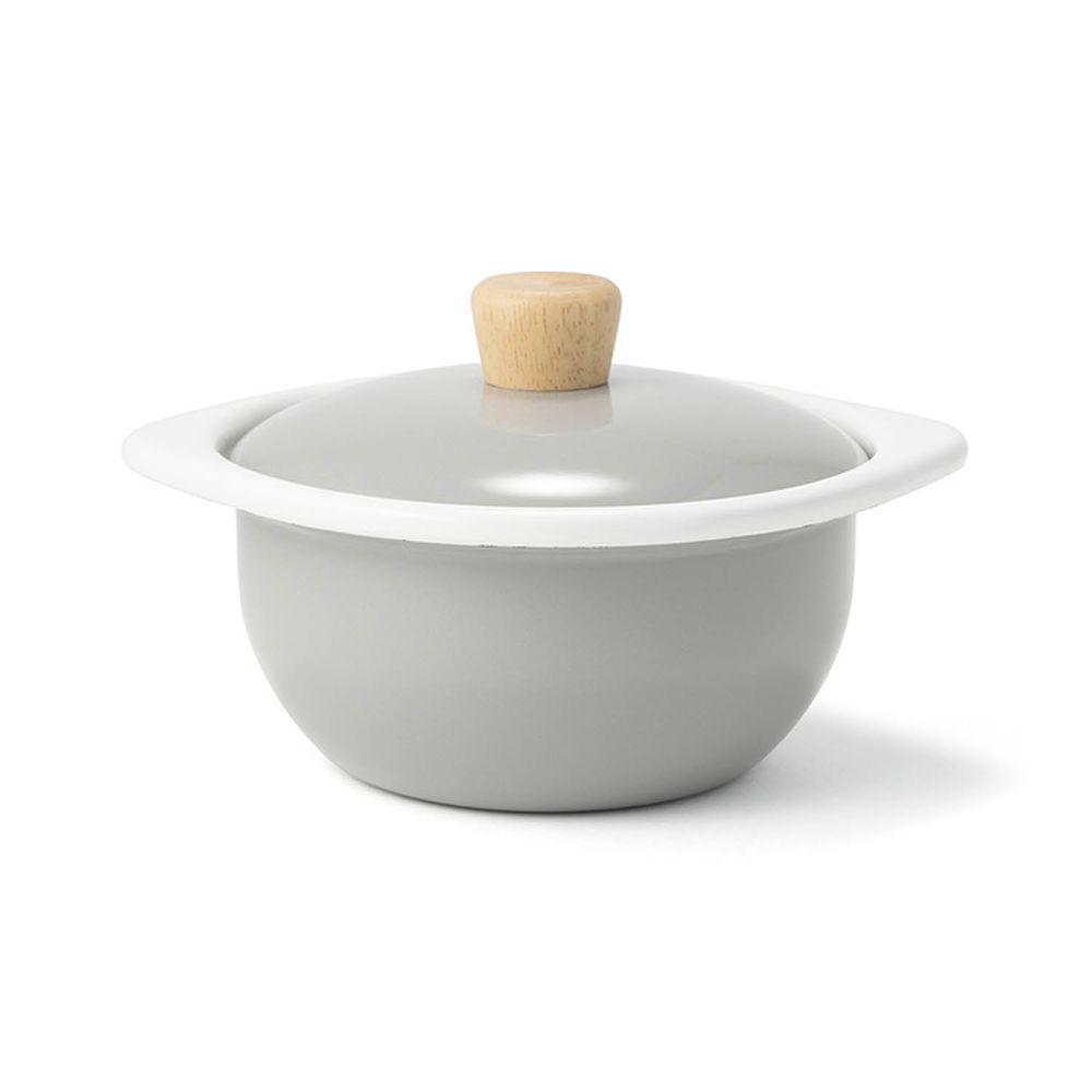 FUJIHORO 富士琺瑯 - 簡約系列-15cm迷你琺瑯附蓋鍋-經典灰-容 量:1.2L 重量:0.74kg