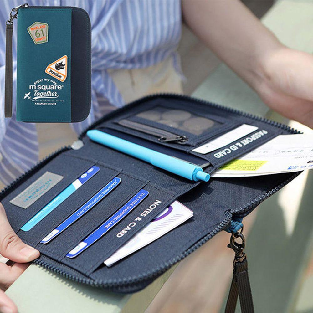 m square - 短版手挽護照夾紀念版-海軍藍 (18.5*11.5cm)