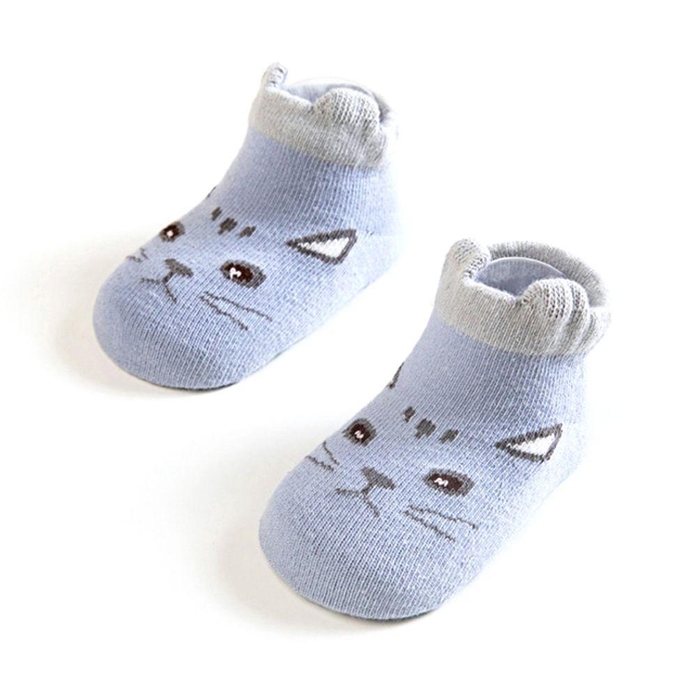 JoyNa - 立體動物耳朵 鬆口短襪(底部止滑)-藍色龍貓