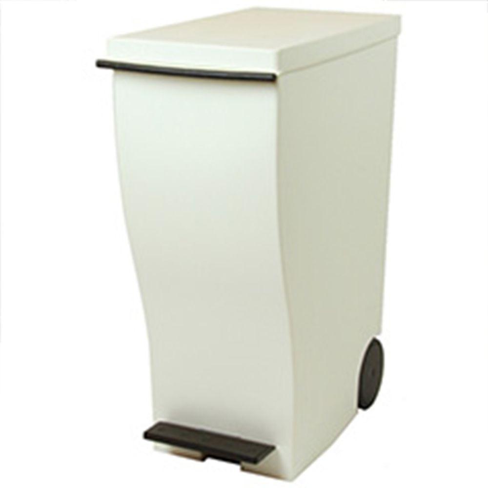 日本岩谷Iwatani - 日本製雙色曲線長型可分類脚踏垃圾桶-33L附輪-白棕