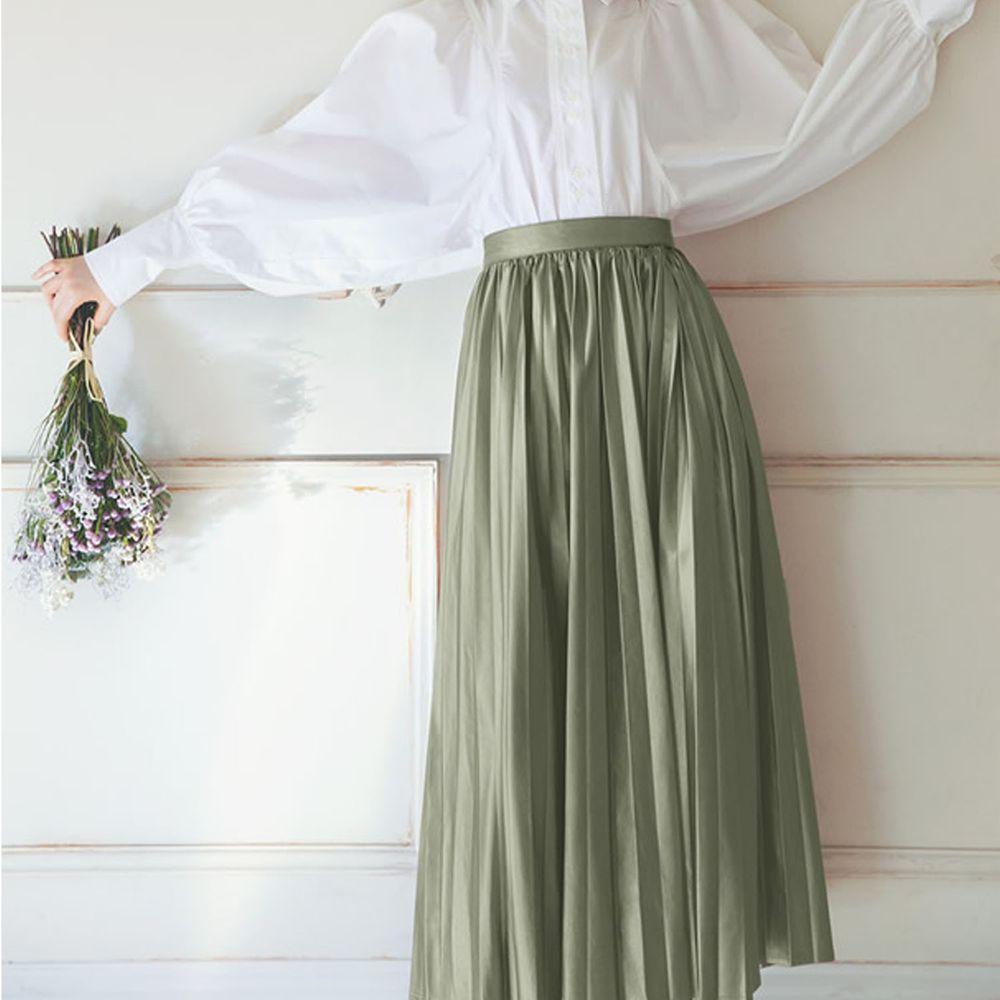 日本 GRL - 光澤皮質百褶長裙-綠