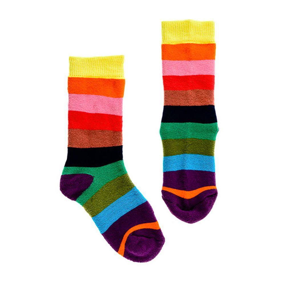 【英國Squelch】 - 防滑棉襪-Rainbow彩虹條紋 (3-6Y)