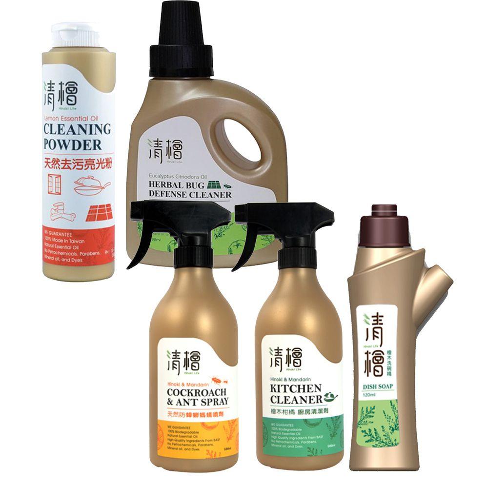 清檜 Hinoki Life - 大掃除廚房特惠組-廚房清潔劑+天然去污亮光粉+洗碗精+抗菌驅蟲萬用清潔劑+天然防蟑螂螞蟻噴劑