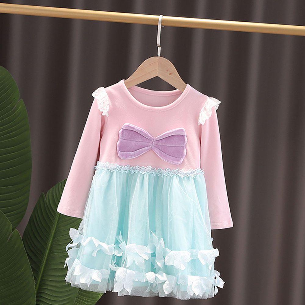 長袖造型公主裙-薄紗粉藍