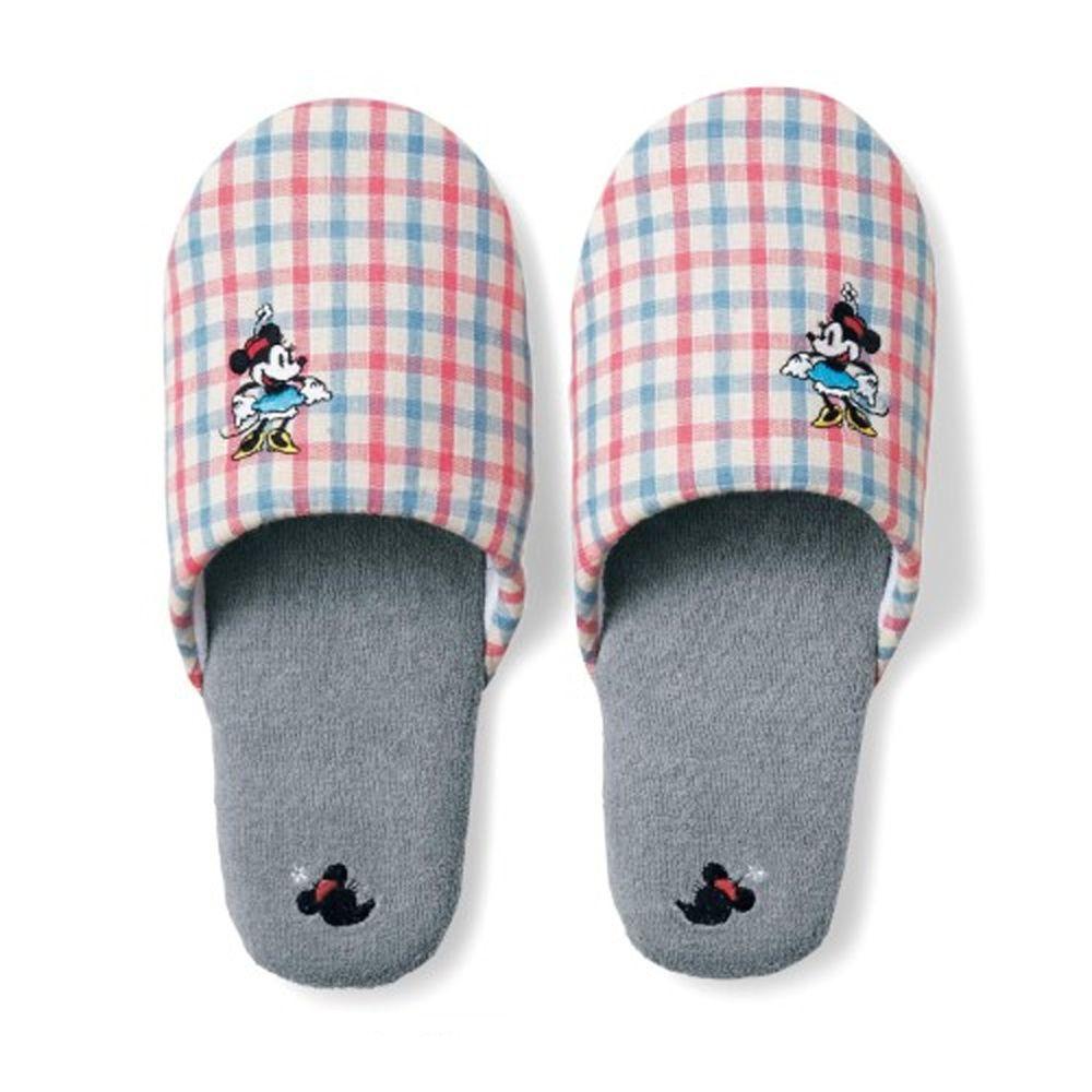 日本千趣會 - 迪士尼室內拖鞋-格紋米妮