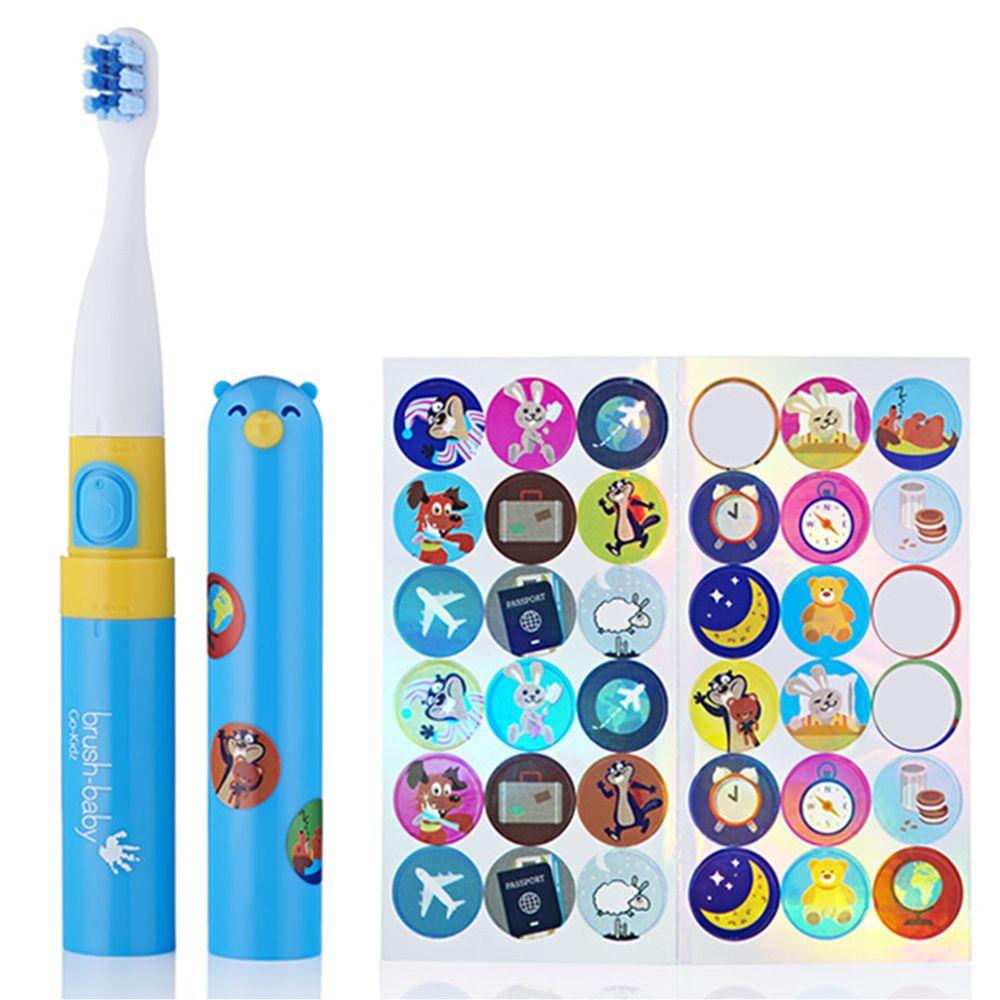 英國 brush-baby - 外出攜帶型GoKidz聲波電動牙刷(粉藍)-3歲以上