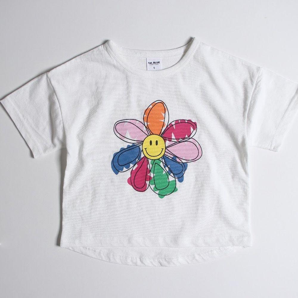 韓國 First Blue - 彩虹花朵T-白