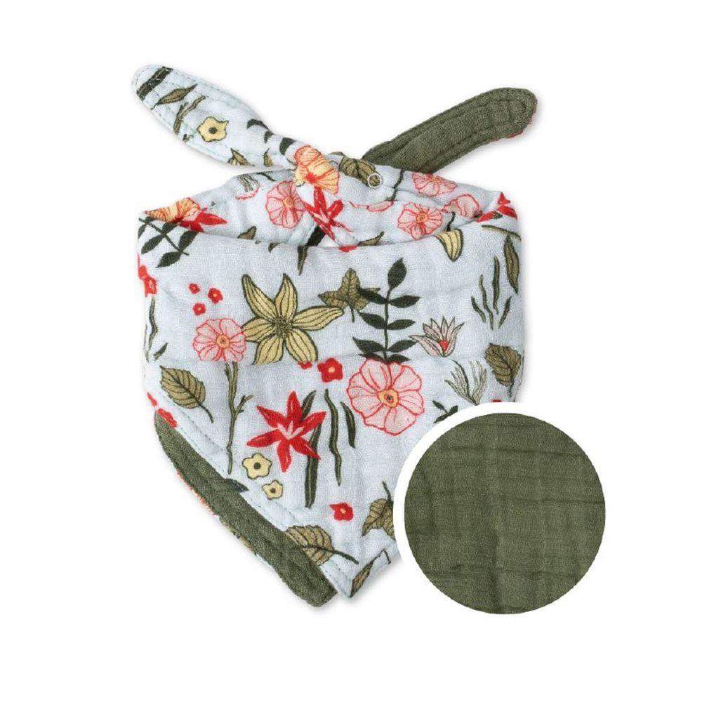 美國 Little Unicorn - 純棉雙面三角圍兜單入-月見花園 (17CMx42CM)-雙面/單入