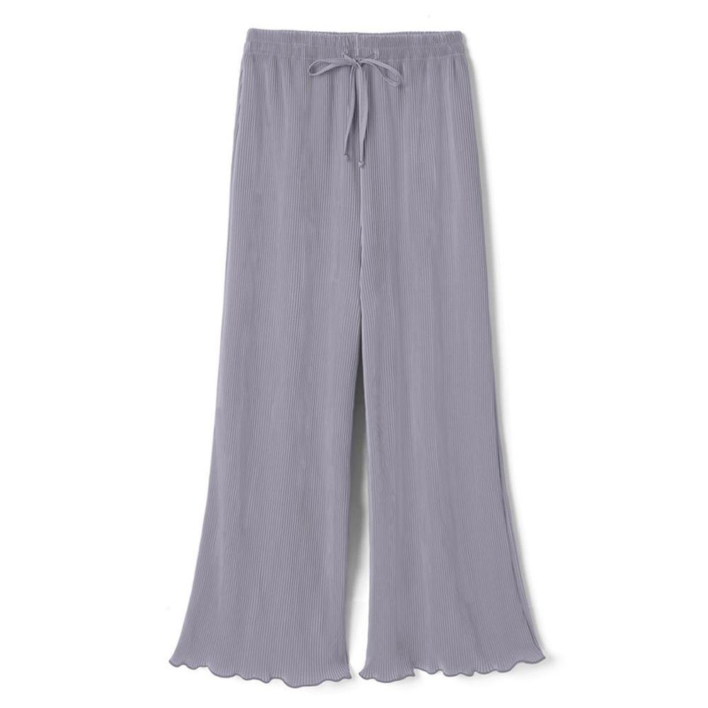 日本 GRL - 慵懶垂墜羅紋寬褲-星塵藍