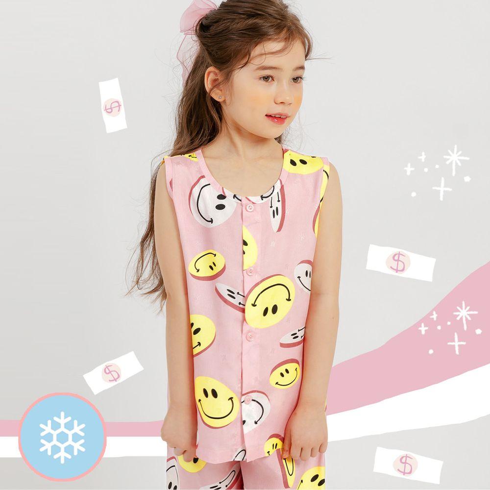 韓國 Mellisse - 韓製涼感嫘縈無袖睡衣/家居服-粉紅笑臉