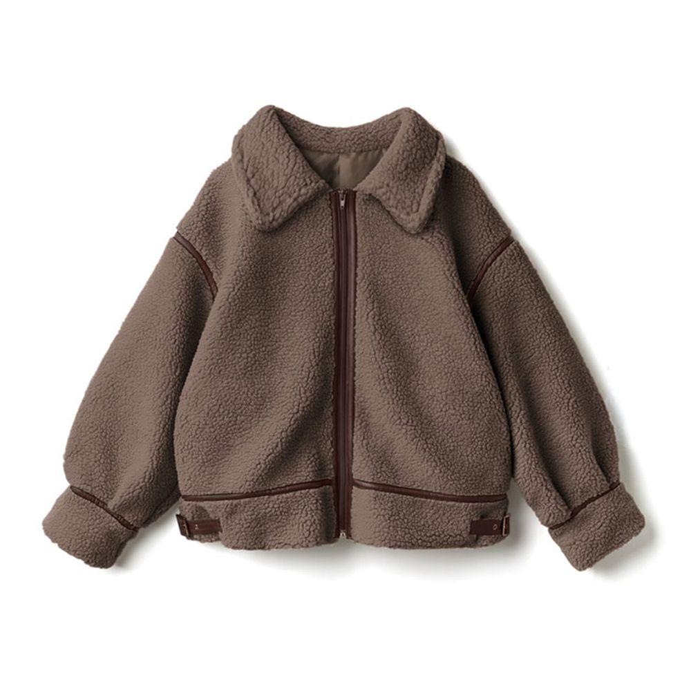 日本 GRL - 率性線條高領泰迪熊刷毛保暖外套-摩卡棕
