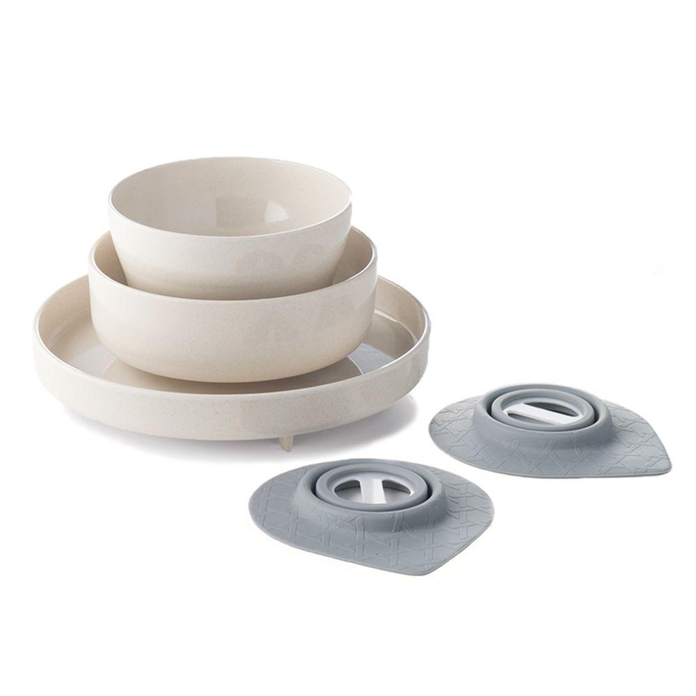 美國Miniware - 微兒天然寶貝用品系列-小小食神五入組-牛奶麥片-竹纖維麥片碗*1 竹纖維點心碗*1 竹纖維麵包盤*1 防滑吸盤*2