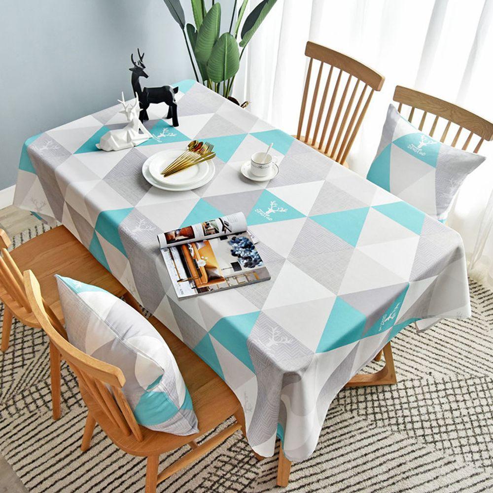防水防油免洗桌布-三角形-灰藍色