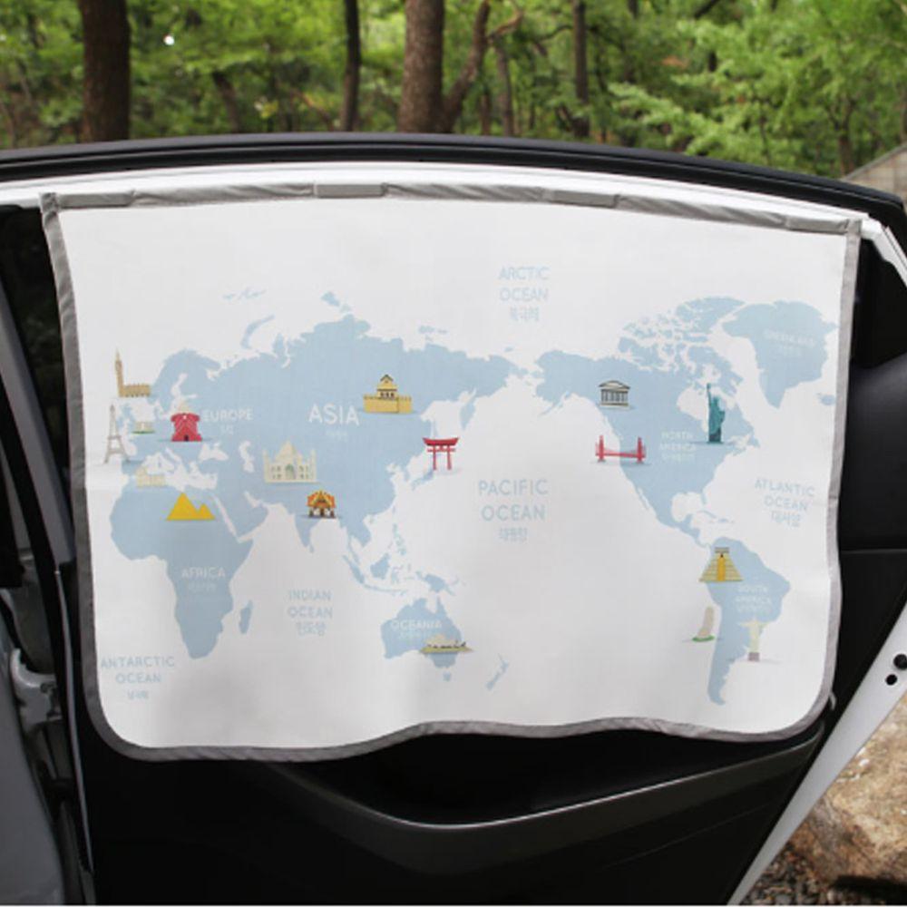 韓國 Bebe Deco - 三層遮光磁鐵遮陽窗簾-世界地圖 (65*45cm)