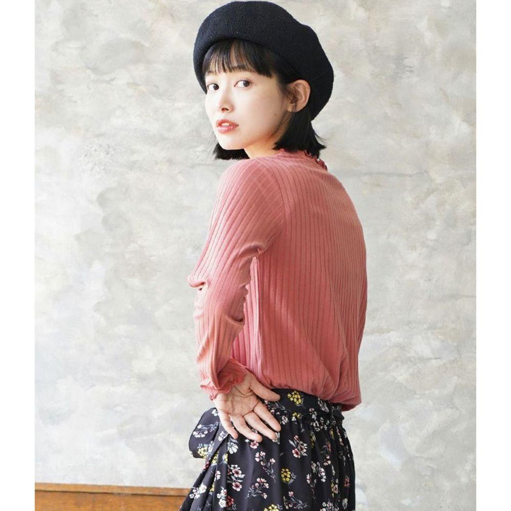 日本 zootie - 輕薄木耳邊粗羅紋貼身長袖上衣-粉橘