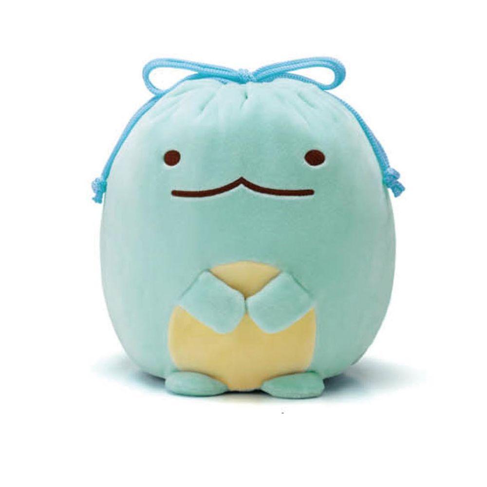日本千趣會 - 角落生物 彈性伸縮球型束口收納袋-偽蜥蜴-藍綠 (L(最大約35x23x15cm))