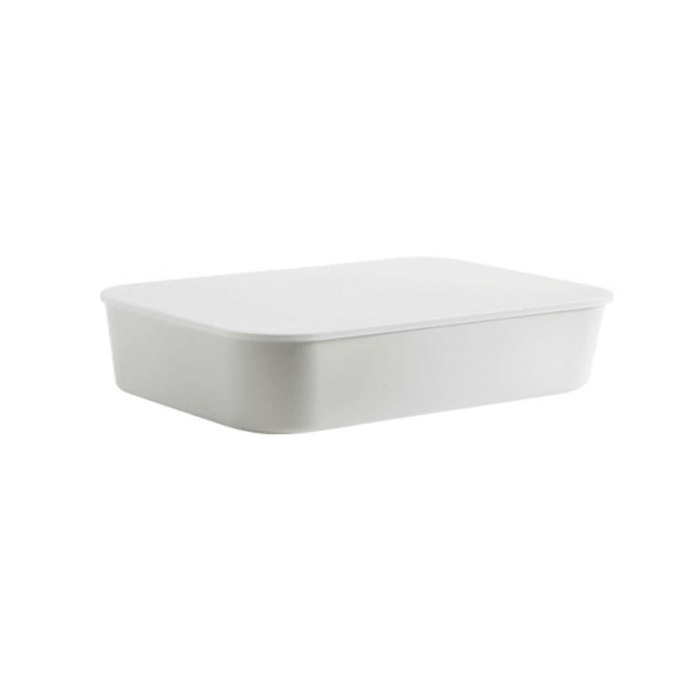 日系簡約白色收納盒-扁平款大號(36.5x26x8.5cm)-沒有把手