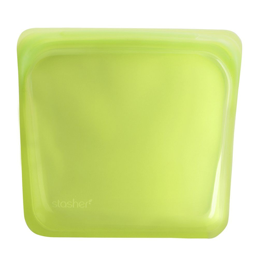 Stasher - 食品級白金矽膠密封食物袋-Sandwich方形-萊姆綠 (443ml)