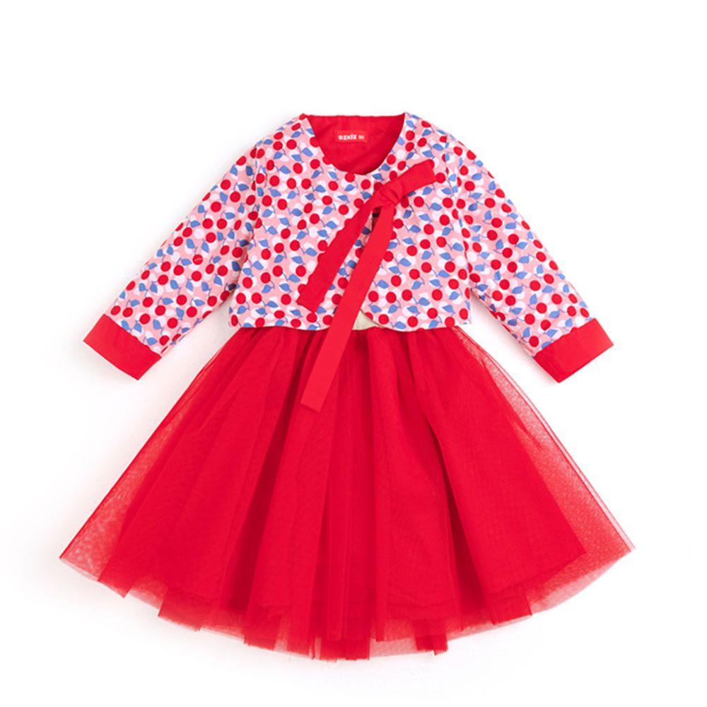 韓國 OZKIZ - 上下兩件式紗裙生活韓服-紅