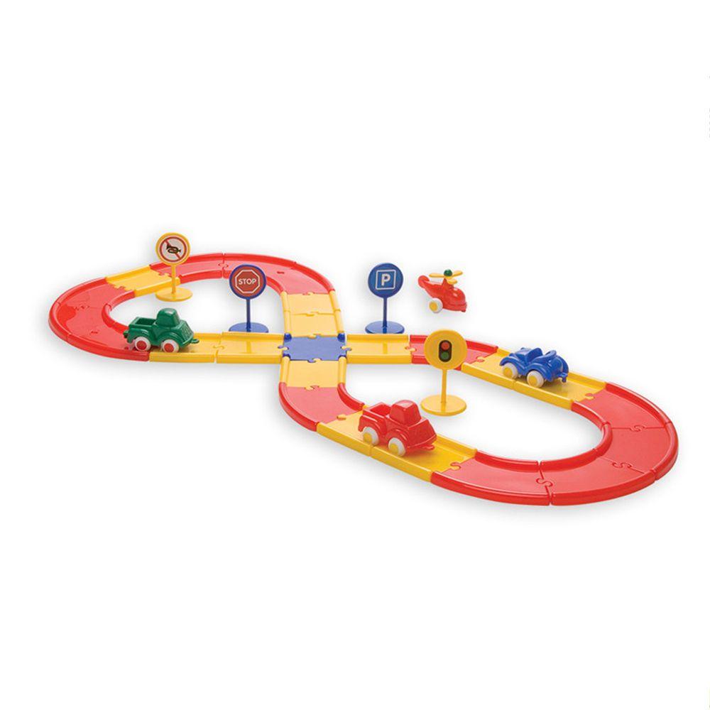 瑞典Viking toys - 【新品】城市賽車場軌道組(含三台車車與一台直升機)