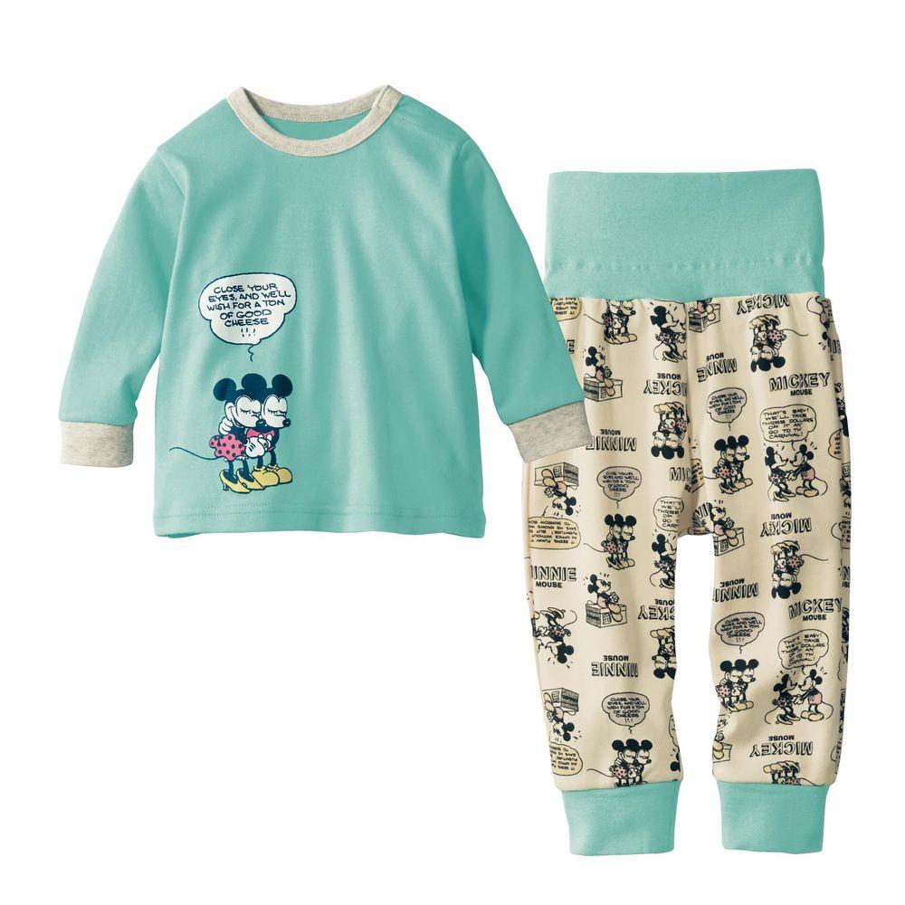日本千趣會 - 迪士尼小童純棉腹卷長袖家居服/睡衣-米奇米妮-薄荷綠X米白