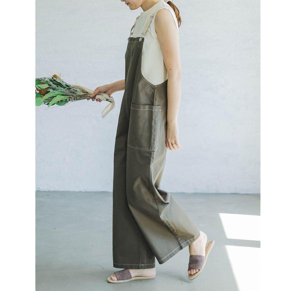 日本 PAIRMANON - 純棉雙口袋吊帶褲(媽媽)-墨綠 (FREE)