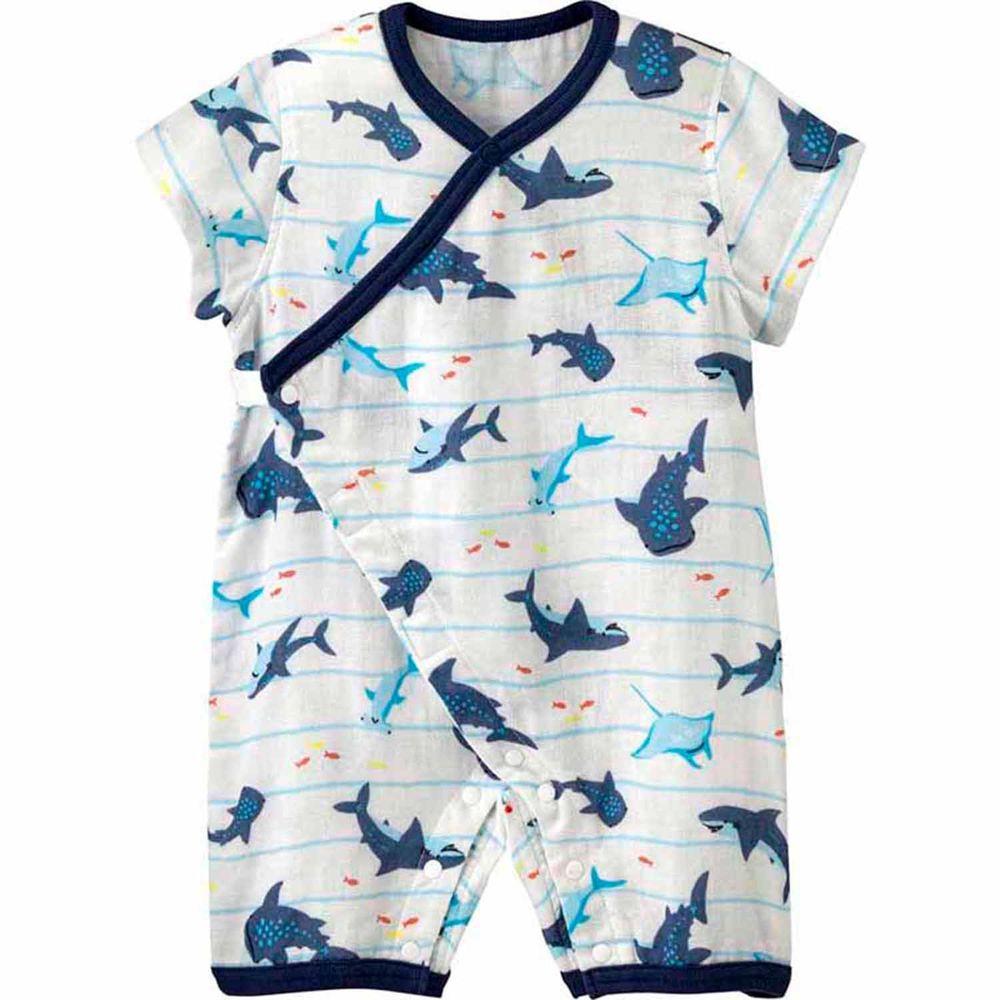 日本 Combi - mini系列-涼感純棉連身衣-鯊魚