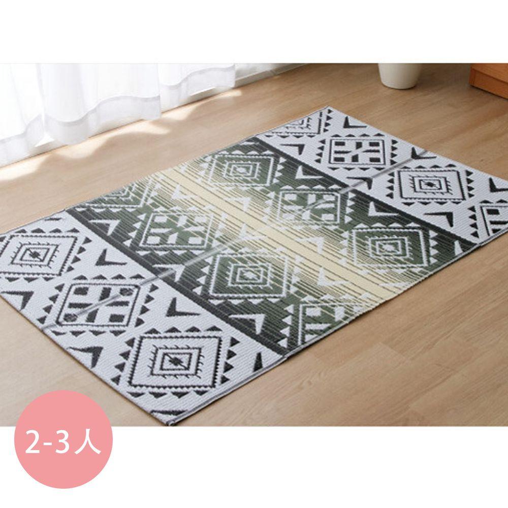 日本池彥 - 日本製防蟎蟲捲式野餐墊 / 地毯(2-3人)-菱格圖騰-灰黑 (約87×140cm)