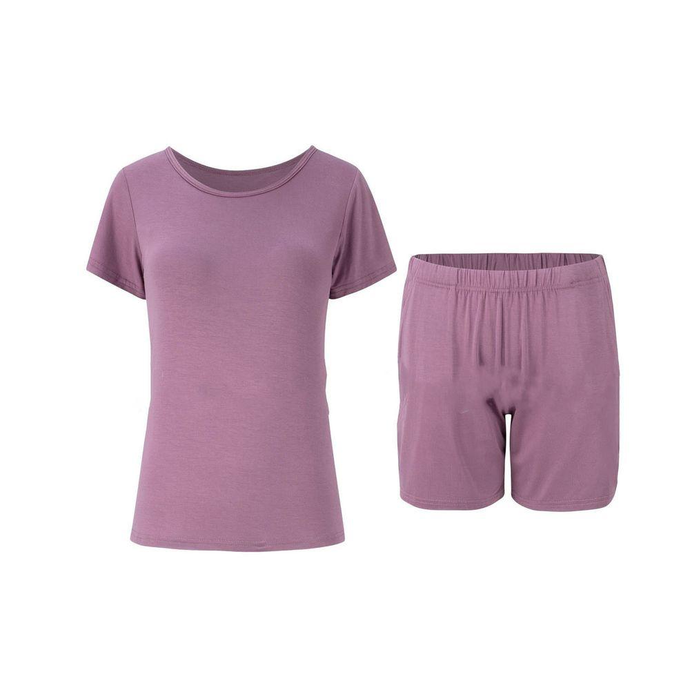莫代爾柔軟涼感Bra T家居服-短褲套裝-紫色