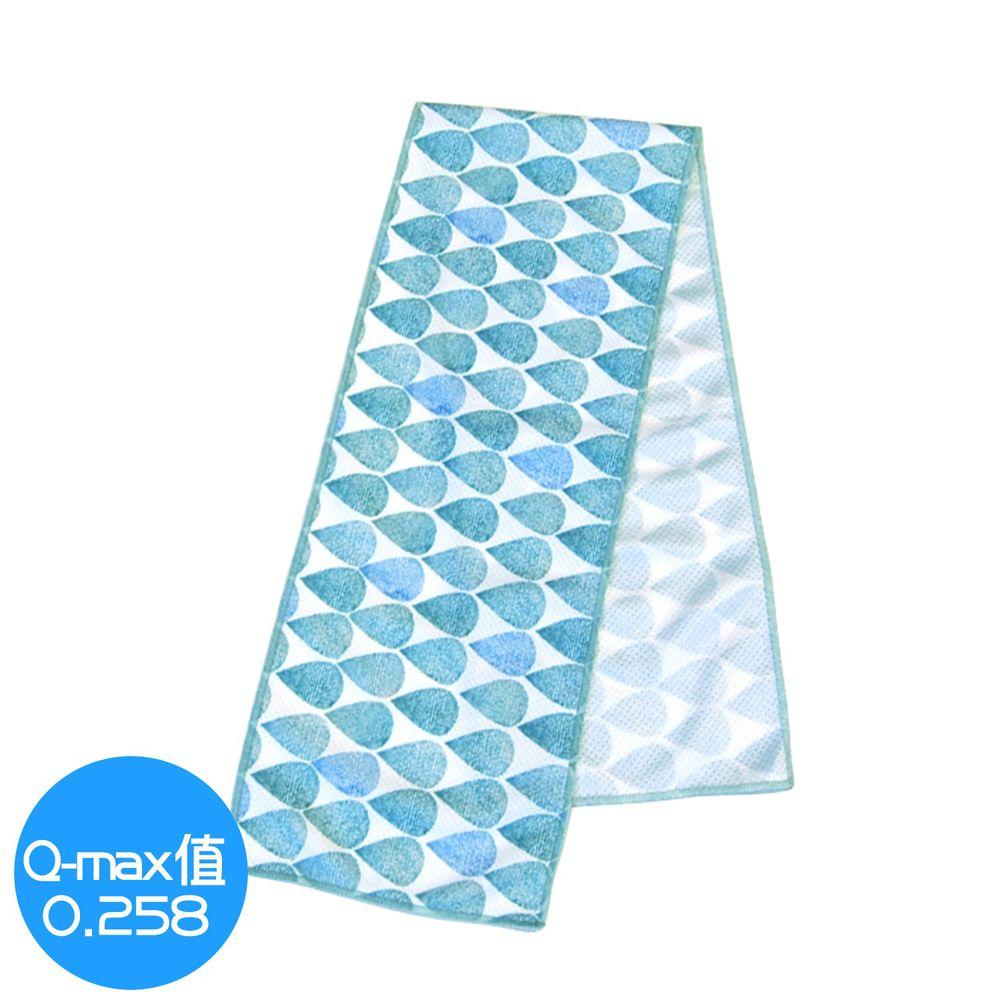 日本 DAIKAI - 抗UV接觸冷感 水涼感巾-夏日雨點-水藍 (M(80x15cm))