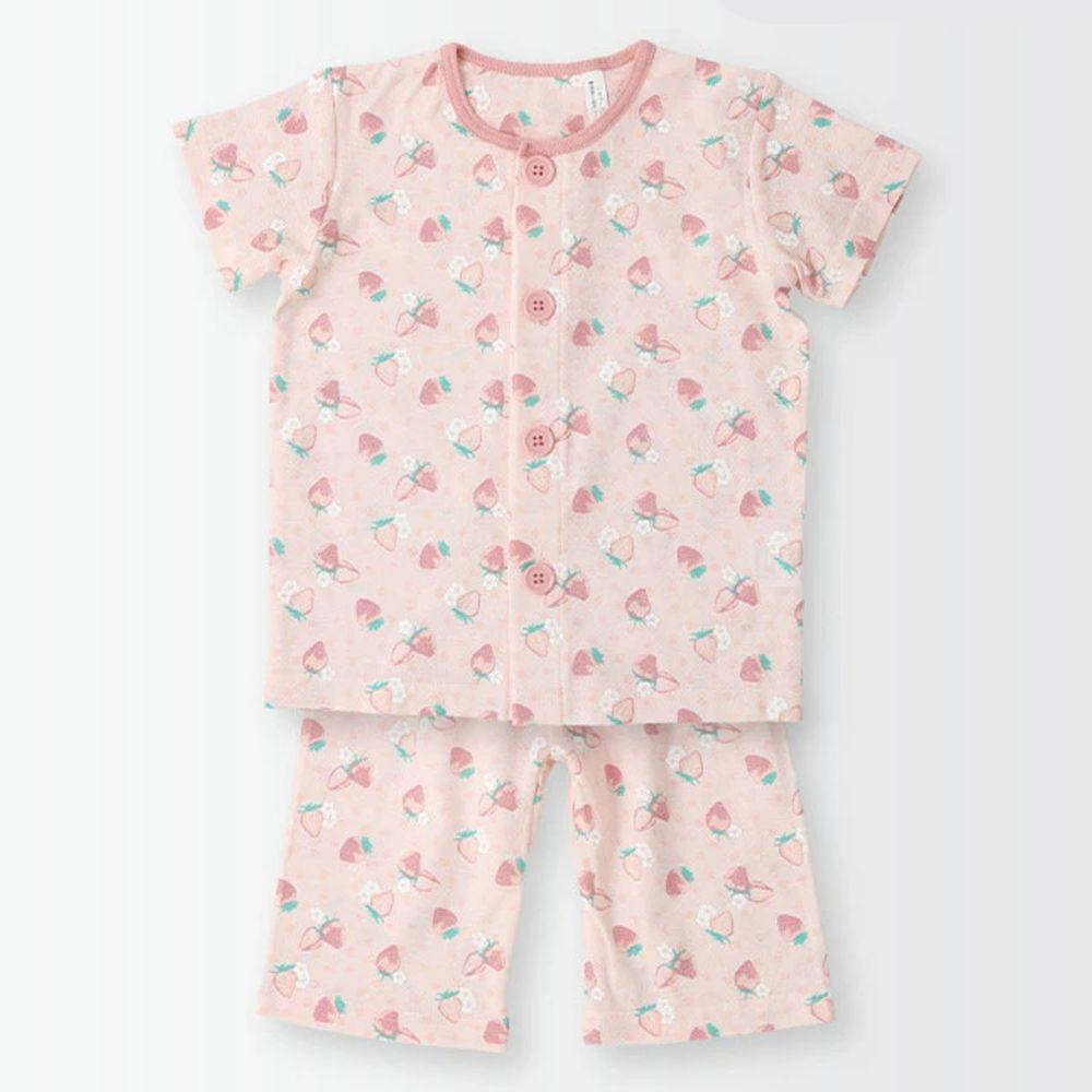 日本 ZOOLAND - 涼感 100%棉腹卷家居服(短袖+七分褲)-滿版草莓-粉紅