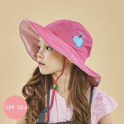 UPF 50+ 防潑水透氣軟鋼絲遮陽帽(附口哨)