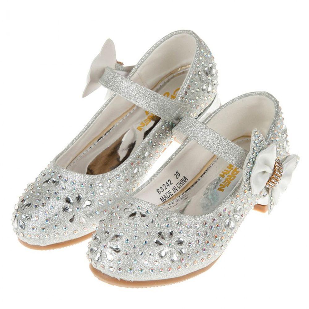 華麗風格璀燦亮鑽銀色低跟公主鞋