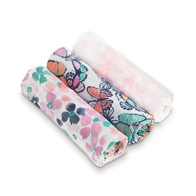 竹纖維包巾(3入)-彩蝶花雨