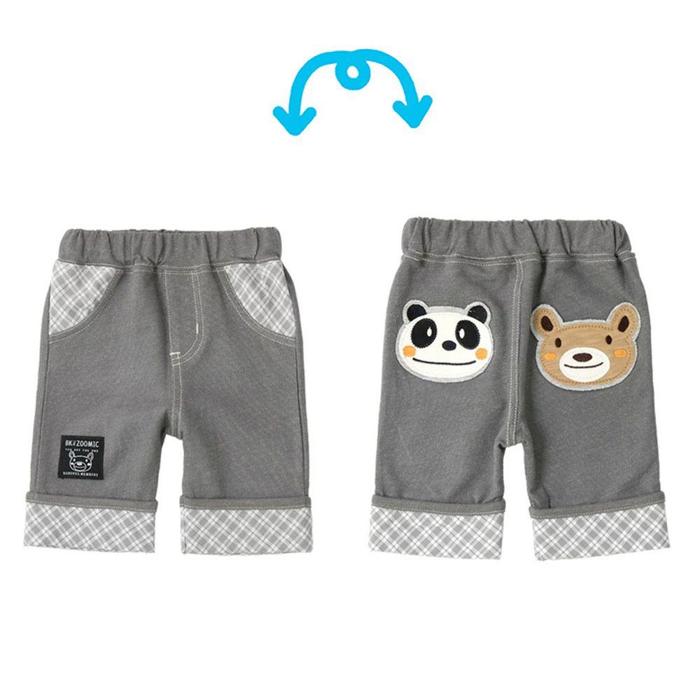 日本 ZOOLAND - 動物格紋五分褲-小熊熊貓大臉-灰