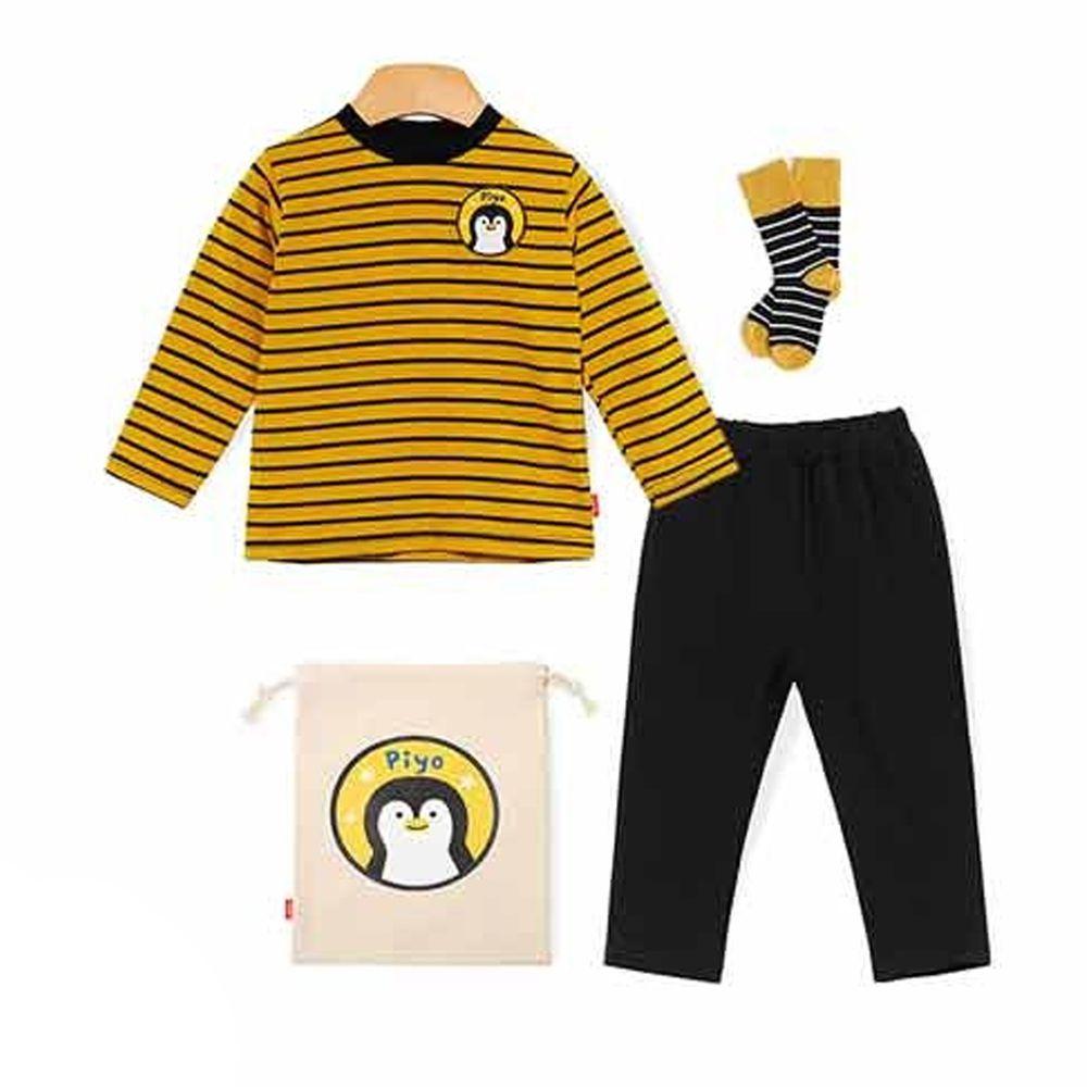 韓國 OZKIZ - 條紋動物套裝4件組-企鵝-(含上衣、褲子、襪子、束口袋