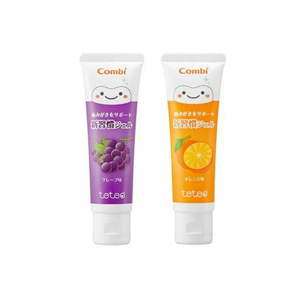 日本 Combi - teteo 幼童含氟牙膏-葡萄牙膏x1+橘子牙膏x1